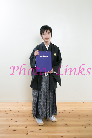 子供用男の子の卒業式用袴と着付け、スタジオ写真 奈良のフォトリンクス