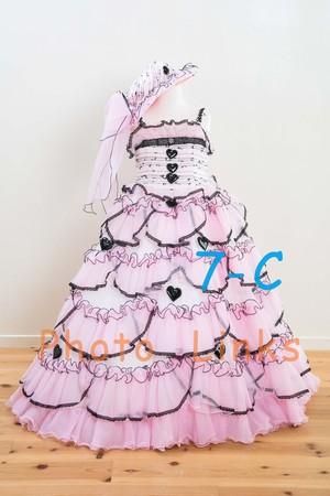 7歳の女の子が大好きなピンク色のドレス ちょっぴり大人っぽい小悪魔なデザイン 120cm