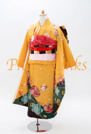 クラシカルな黄色の着物裾にディープグリーンのアクセントと伝統的な着物の柄がワンポイント